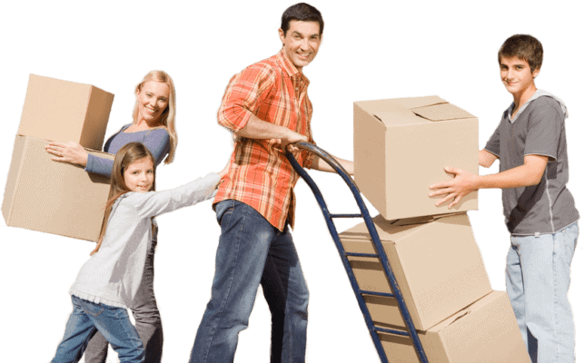 Happy family moving boxes